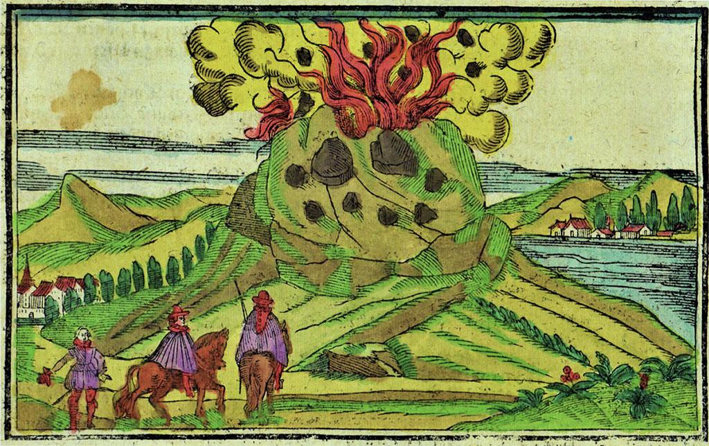 Incisione su lastra di rame acquerellata, raffigurante l'Etna in eruzione nel 1537 tratta da Münster 1628 (Collezione privata)
