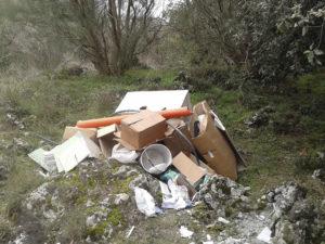 I rifiuti fra cui è stata rinvenuta la polizza assicurativa