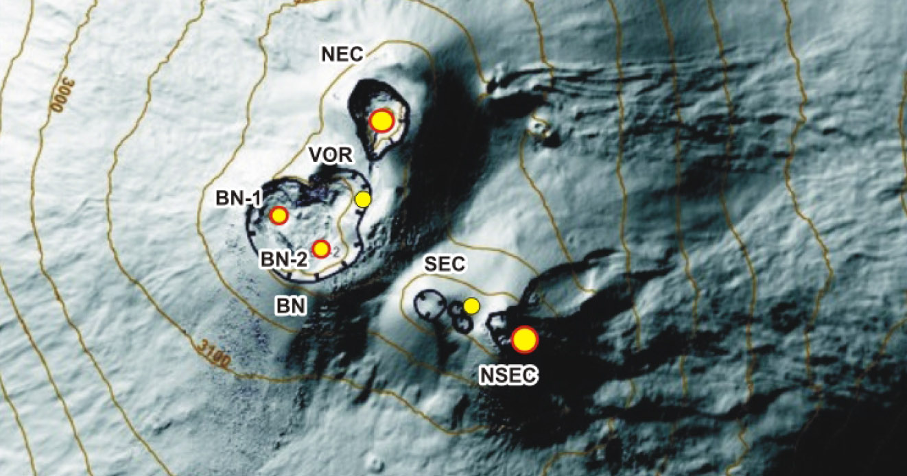 Monitoraggio Etna, bollettino INGV del 6 Novembre 2018